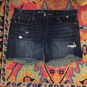 American Eagle destroyed denim shorts